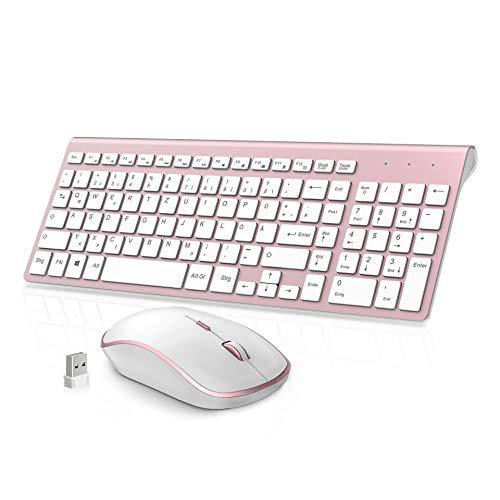 JOYACCESS Funktastatur und Maus,Schnurlose Tastatur und Maus,2.4G Maus Tastatur Set Kabellos,2400 DPI Optische Fließend Leise Ergonomisch Maus for PC/Laptop (Deutsch-QWERTZ Layout)-Rosa und Weiß -