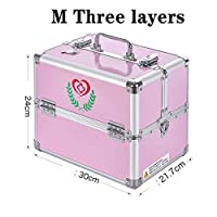 Dxtxx Medical Box with Lock, First Aid Box Can be Drug Storage Box Home Multi-function,Silver,MThreelayers