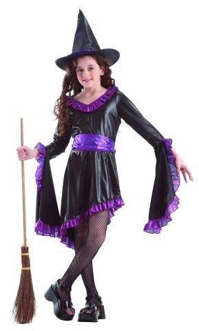Foxxeo Hexenkostüm Kostüm Hexe für Mädchen Kinder Kinderkostüm lila Halloweenkostüm Halloween Hexen Gr. 122-128 - 134-140 Größe 122-128