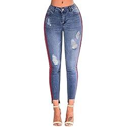 MORCHAN ❤ Jean Denim Skinny déchiré Taille Haute Trou Jean Stretchy Pantalon Pantalon Jeans Combinaisons Pantalon Court Collants Leggings Knickerbockers.(3XL,Bleu)
