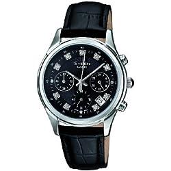 SHEEN SHE-5023L-1AER - Reloj analógico de cuarzo para mujer, correa de cuero color negro (cronómetro)