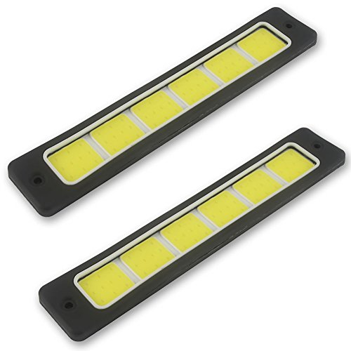 Safego 2Pcs/Set DRL LED COB Ampoule de Barre Lumineuse Feux de Jour Blanc Pour Voiture 16W 6000K DC 12V