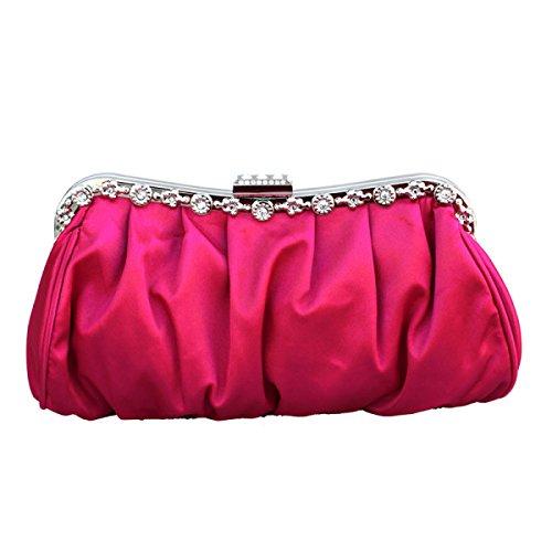 Womens Frizione Pieghe -Studded Sposa Ball Prom Frizione Portafoglio Borsa Pink