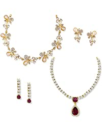 Zaveri Pearls Combo Of 2 Fashion Diva Necklace Set For Women-ZPFK6505