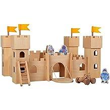"""Ritterburg """"Natur"""" aus Holz zum Zusammenstecken, mit drei Rittern, Leiter, Schleuder und verschließbarem Burgtor"""