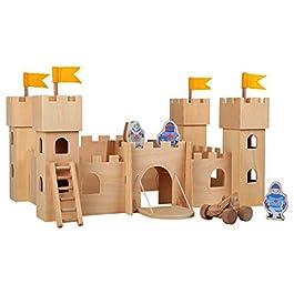 10026 Castello dei cavalieri Natura in legno, con tre cavalieri, scala, fionda e porta del castello,