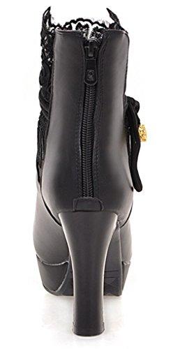 YE Damen High Heels Plateau Stiefeletten mit Schnürung Blockabsatz 9cm Absatz Elegant Herbst Winter Schuhe Short Ankle Boots Schwarz