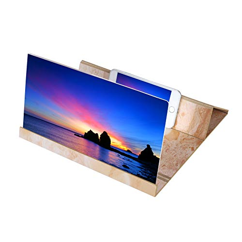 VBESTLIFE 12 '' HD-Bildschirmlupe Smartphone-Lupe, Anti-Strahlung Vergrößerer Bildschirm für Mobiltelefon, Film-Video-Bildschirmverstärker mit Holzmaserung Stehen Stabiler Clip -