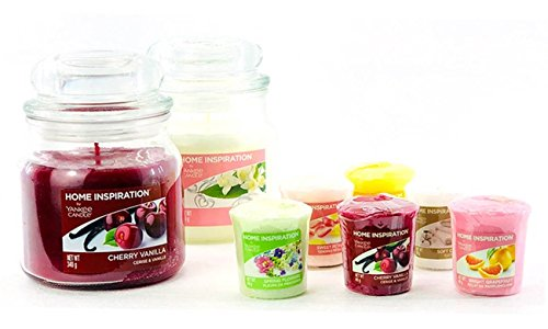 """My planet yankee candle, confezioneregalo """"home inspiration with love"""" (versione inglese), set con 2giare medie e 6 candele votive samplers"""