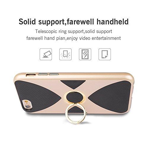iPhone 6/6S Coque, Voguecase 2 in 1 TPU + PC [Anneau Series] avec Absorption de Choc, Etui Silicone Souple, Légère / Ajustement Parfait Coque Shell Housse Cover pour Apple iPhone 6/6S 4.7 (Or)+ Gratui Or