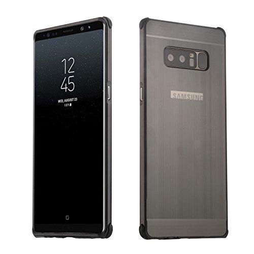 Galaxy Note 8 Hülle,Samsung Galaxy Note 8 Metall Cover,WIWJ Handyhülle Metall Case Cover 2 in 1 Aluminium Bumper Case Metal Hülle Ultra Dünn Schutzhülle für Samsung Galaxy Note 8-Schwarz