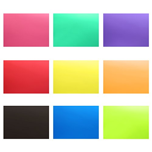 Neewer 9 Stück Blitz Beleuchtung Gelfilter Plastikfolien Set mit 9 verschiedenen Farben - 12x8,3 Zoll durchsichtige Farbkorrektur Beleuchtung Folien Kunststoffplatten