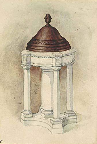 JH Lacrocon Louis Comfort Tiffany - Design Für Taufbecken 1 Leinwandbilder Reproduktionen Gerollte 40X60 cm - Grafik Gemälde Vintage Gedruckt Wandkunst
