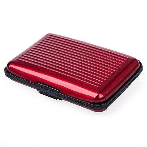 TOOGOO (R) Alu wasserdichte Kreditkarten Visitenkarten Etui Case Tasche Box H¨¹lle Kartenbox Aufbewahrungsbox Rot