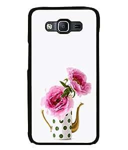 PrintVisa Designer Back Case Cover for Samsung Galaxy E5 (pink roses white glassware vase)