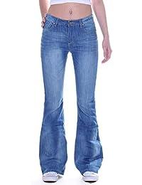 Style-Station24 Damen Jeans, Schlag Hose, Schlagjeans, Marlene Hüftjeans in  blau bb467d5d06