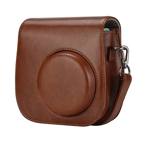 Anter Tasche für Fujifilm Instax Mini 8 8+/Mini 9 Sofortbildkamera aus Weichem Kunstleder mit Schulterriemen und Tasche - Retro Braun