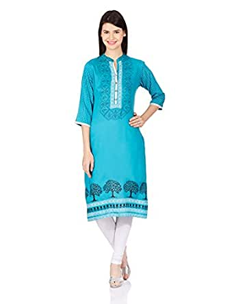 Shree-The Indian Avatar Women's Straight Kurta (15186DXXXL_Turquoise_XXX-Large)