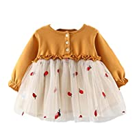Nine Minow Girls Casual Dress Lace Tulle Long Sleeve Sweater Dresses for Baby Kids Toddler (Yellow, 18-24 Months)