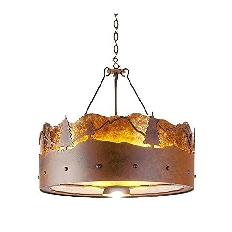 OOFWY E27 Eisen-Glimmer-runde hängende helle Decken-Lampe Industrielle Retro Land-Weinlese-Art-Gaststätte-Gaststätte-Bar-Café-Beleuchtung-Kronleuchter , A