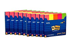 Oddy Paper Flags Prompts, 15 x 76mm, 5 Colors, 250 Sheets per Pack -10 Packs