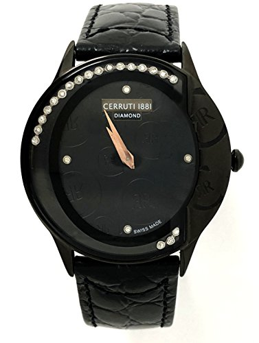 Cerruti 1881 Diamond Black Watch loghi Moving pietre in pelle da donna Swiss Made