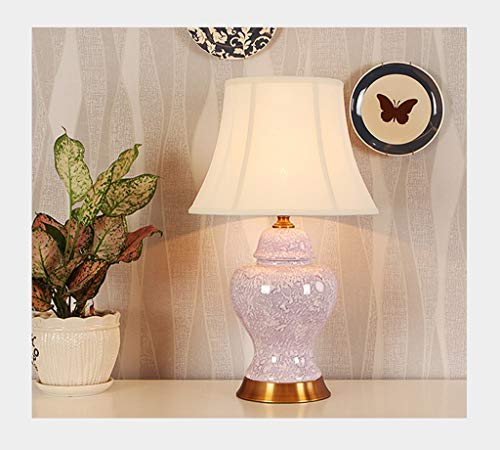 Lampe de table F Lampe de table Jane European Cuivre Chambre Ceramic Pearl Glaze Lampe de chevet décorative (Couleur : B)