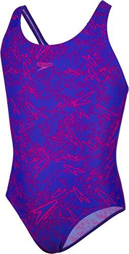 Speedo Mädchen Boom Allover Splashback Badeanzug, Chromblau/Elektrisch Pink, ()