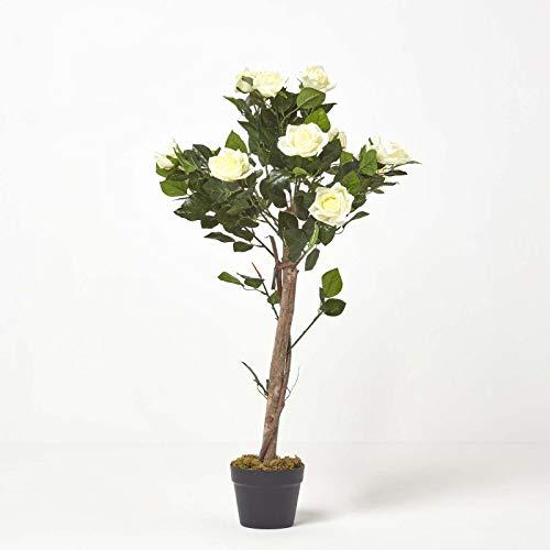 Homescapes Rosier artificiel blanc fleuri en pot 90 cm