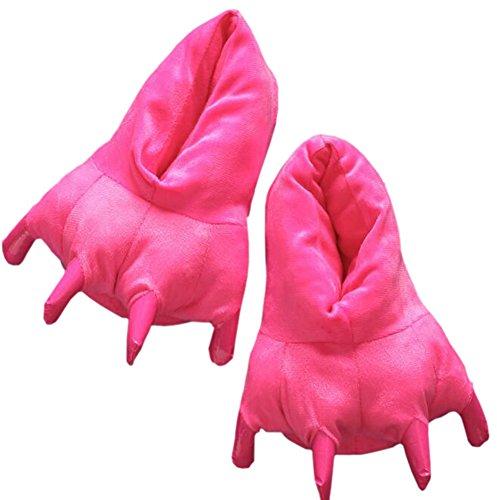 Magicmode Unisex Warm Weich Plüsch Pfote Klaue Haus Hausschuhe Cosplay Tier Kostüm Schuhe Hot Pink M