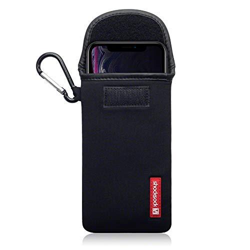 SHOCKSOCK, Kompatibel mit iPhone XR Neopren Tasche mit Carabiner Hülle - Schwarz Iphone Tasche