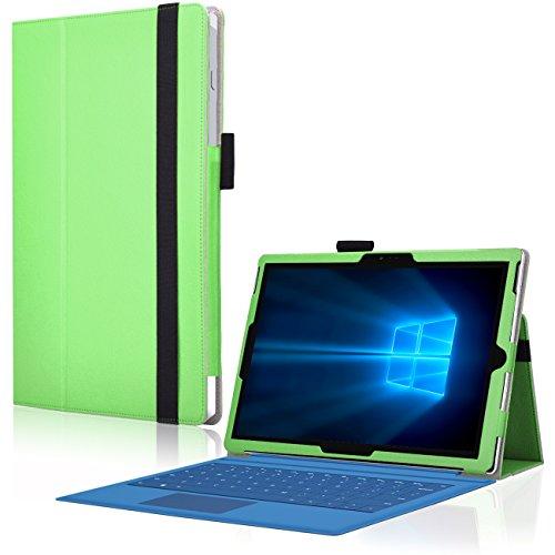 Microsoft Surface Pro 3 Cover Tasche mit praktischer Stand Funktion Case aus robustem Kunstleder kombiniert Schutz und Design für Ihr Microsoft Surface Pro 3 Hülle Case Grün von UC Express®