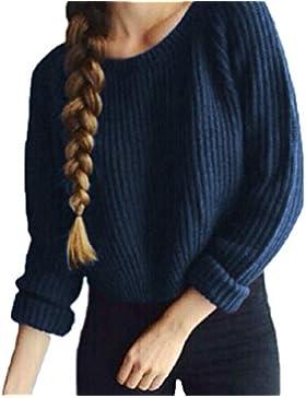 Zengbang Crop Top Manica Larga Mujer Prendas de Punto Suéter Sweater Gruesos Jerséy