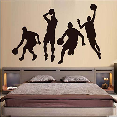 Preisvergleich Produktbild Zlxzlx Eine Gruppe Basketball Team Diy Wandtattoos Für Jungen Schlafzimmer Dekorative Vinyl Wandaufkleber Ausgangsdekor Stadion Shop Wandbild Kunst 86 * 56 Cm