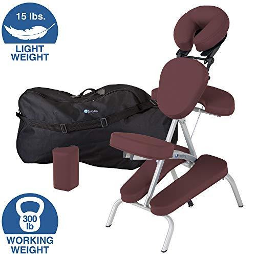 EARTHLITE Vortex Tragbarer Massagestuhl - Klappbar, Kompakt, Stabil & Leicht (6,8kg), inkl. Transporttasche & Brustbeinkissen