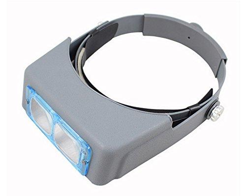 Stirnband Lupe, Desxz Freisprecheinrichtung Lesekopf Mount Lupe Gläser Halterung 4 austauschbare Linsen zum Lesen, Schmuck Lupe, Uhr elektronische Reparatur - 1,5 X 2 X 2,5 X 3,5 X (Grau)