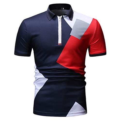 Poloshirt Herren T Shirt Kanpola Slim Fit Muskelshirt MäNner Print Sweatshirt FüR Anzug, Business, Hochzeit Kurzarm Hemd Polohemd -