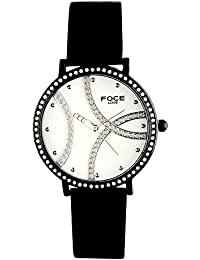 FOCE Black Round Analog Wrist Watch for Women with Black Genuine Leather Strap - F485LBL-WHITE