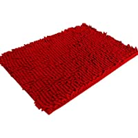 Koly Bathroom Soft Shaggy Non Slip Absorbent Bath Mat Shower Rugs Carpet ( Red)