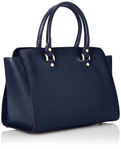 CTM Borsa elegante a mano da donna, vera pelle made in Italy con manici e tracolla 32x24x17 Cm Blu