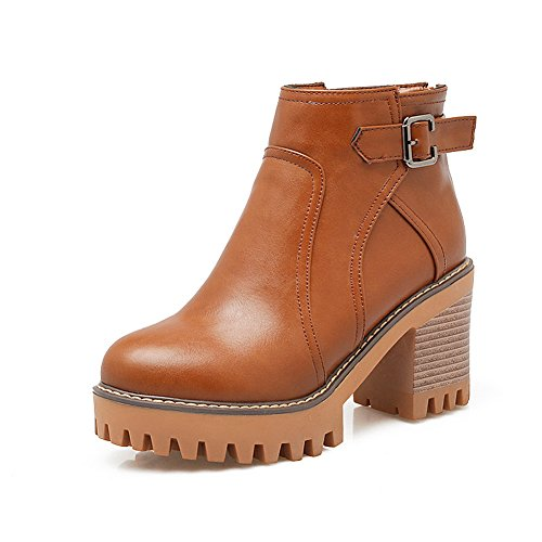 balamasa-ladies-chunky-heels-buckle-platform-back-zipper-brown-imitated-leather-boots-35-uk