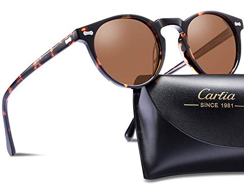 Carfia Hombres Gafas de Sol Polarizadas Retro Estilo gafas UV400 gafas de sol para conducir viajes playa (Marco de tortuga con lente marrón)