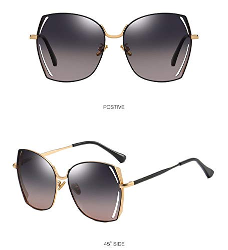 WSKPE Sonnenbrille,Polarisierte Sonnenbrillen Metall Großen Frame Square Fahren Gläser Grau+Rosa Linse