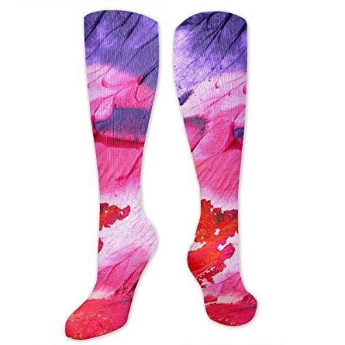 (NFHRREEUR Knee High Socks Rainbow Color Abstract Oil Painting Compression Socks Sports Athletic Socks Tube Stockings Long Socks Funny Personalized Gift Socks for Women Teens Girls)