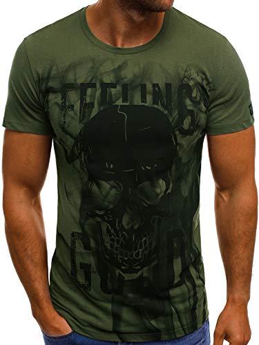 OZONEE Herren T-Shirt mit Motiv Aufdruck Kurzarm Rundhals Figurbetont MECH/2074T Khaki L