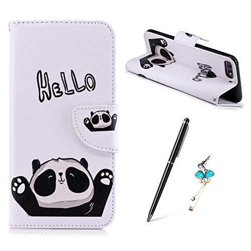 Huawei Honor 7C / Huawei Y7 2018 Hülle, Gemalt Muster Schutzhülle Lederhülle Magnetische Schnalle Premium PU Leder Flip HandyCase Brieftasche Kreditkarte Taschen Etui Handyhülle - HEELO Panda