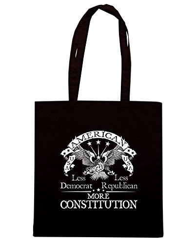 T-Shirtshock - Borsa Shopping TM0671 america less democrat less republican more constitution Nero