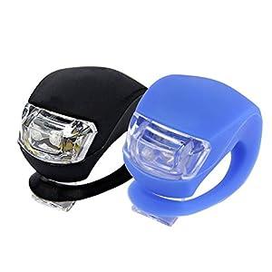411JTVogO5L. SS300 Ndier LED faro lampada bicicletta, luci bici LED anteriore e posteriore Clip-on LED allume antiurto impermeabile per…