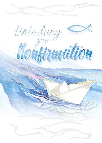 Einladungskarten Konfirmation (5er Set) für Jungen & Mädchen mit Innentext | mit Glitzer | Einladung Konfirmation | DIN C6 | Klappkarte inkl. Umschläge | Motiv: Boot_E