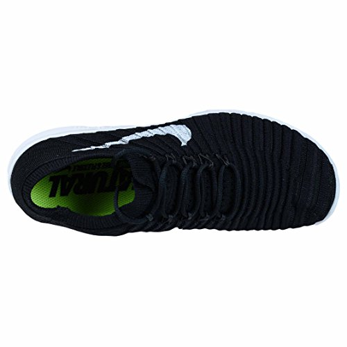 Nike W Free Rn Motion Flyknit, Scarpe da Corsa Donna Nero (Black / White-Volt-Dark Grey) (bianco, grigio scuro)